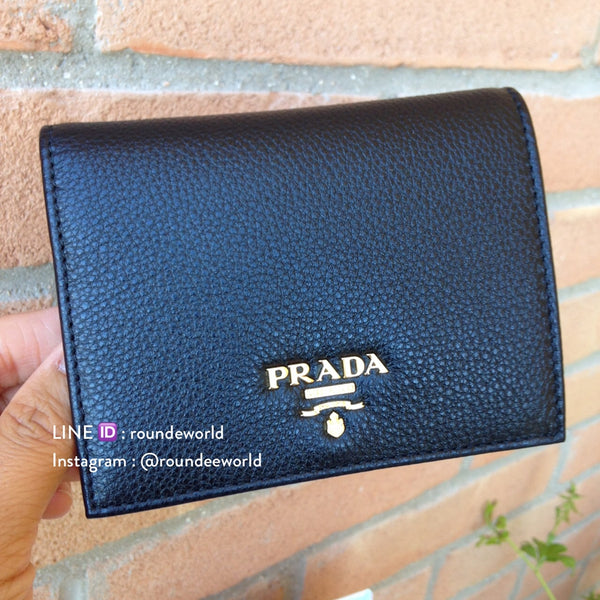 Prada Vitello Grain Leather Flap Wallet 1MV204 - Black