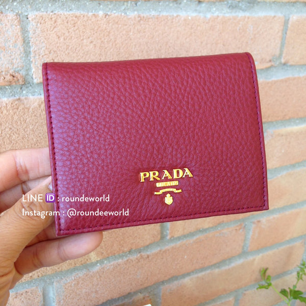 Prada Vitello Grain Leather Flap Wallet 1MV204 - Rubino