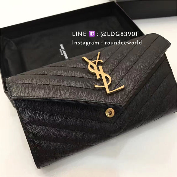 Saint Laurent Large Monogram Wallet - Black