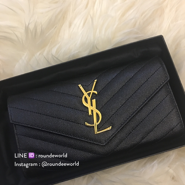 Saint Laurent Large Monogram Flap Wallet - Black with GHW