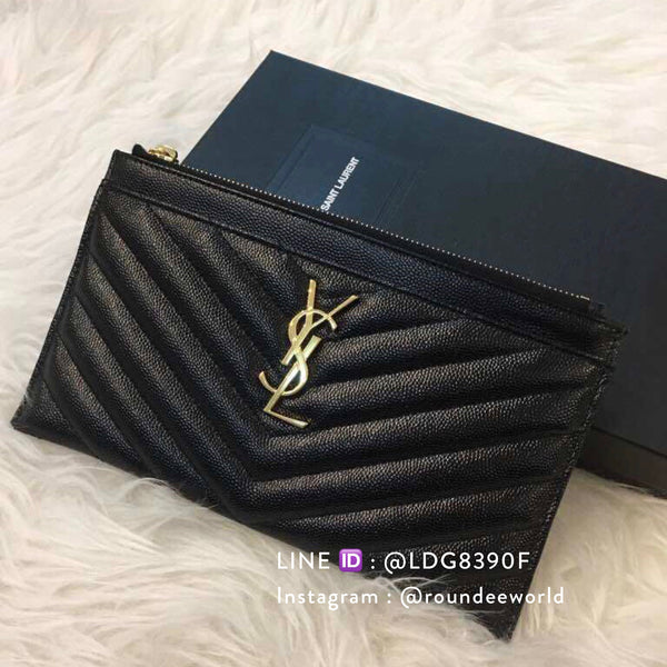 Saint Laurent Monogram Bill Pouch - Black/GHW