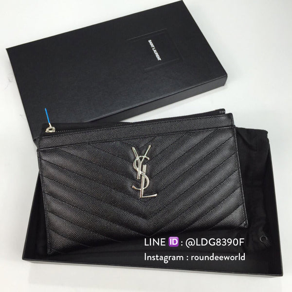 Saint Laurent Monogram Bill Pouch - Black/SHW