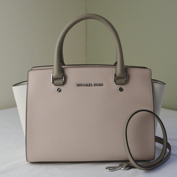 Michael Kors Selma Medium Saffiano Color-block Leather Satchel - Ballet/Ecru/Deep Taupe