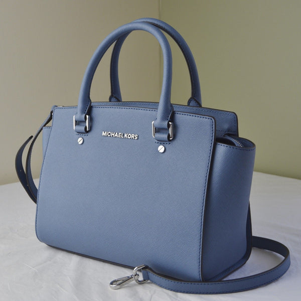 Michael Kors Selma Saffiano Leather Medium Satchel - Denim Blue