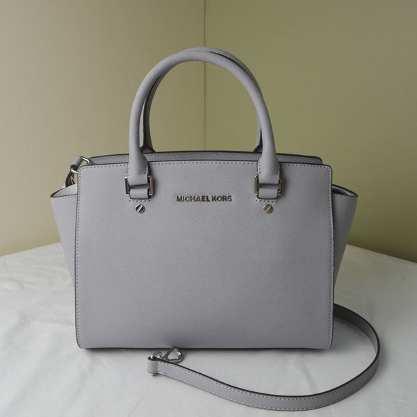 Michael Kors Selma Saffiano Leather Medium Satchel - Dove