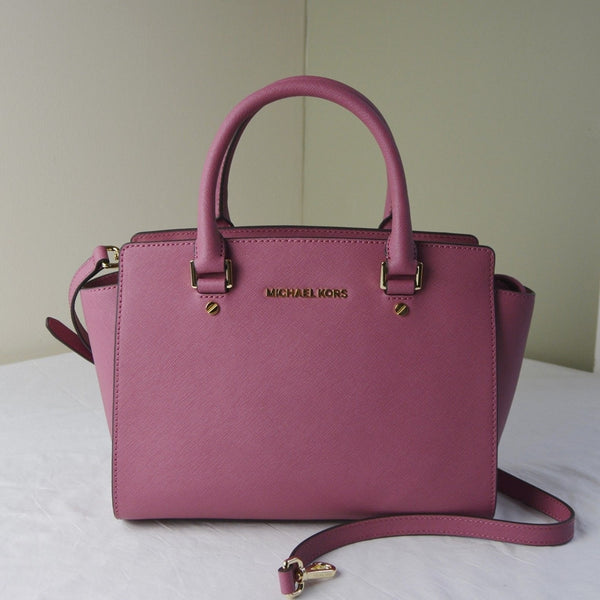 Michael Kors Selma Saffiano Leather Medium Satchel - Tulip