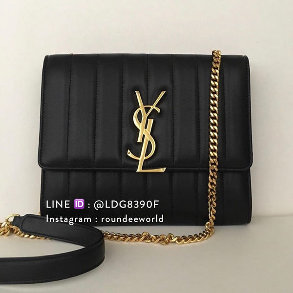 Saint Laurent Vicky Chain Wallet in Quilted Lambskin - Black
