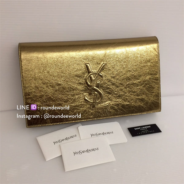 YSL Belle De Jour Leather Clutch - Gold