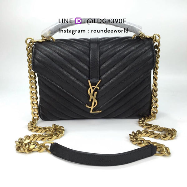 YSL College Medium in Matelassé Leather - Black/GHW