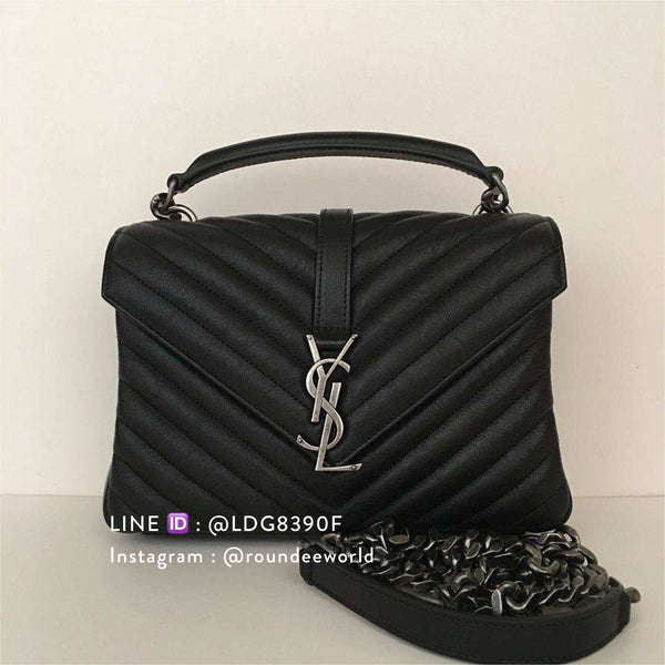 YSL College Medium in Matelassé Leather - Black/SHW
