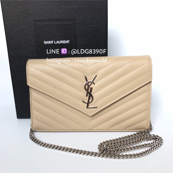 Saint Laurent Monogram Chain Wallet - Beige/SHW