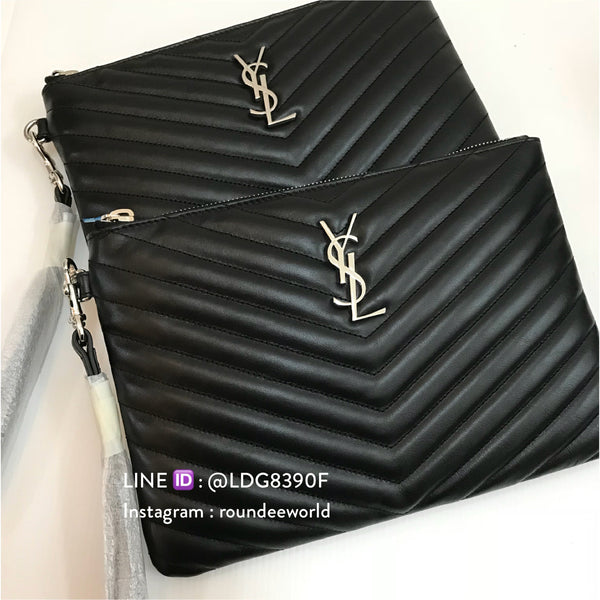 YSL Medium O Case - Black/SHW