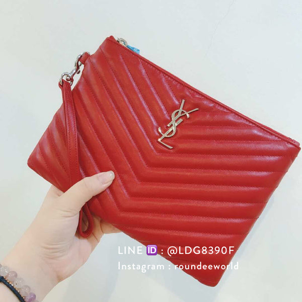 YSL Monogram A5 Pouch - Red