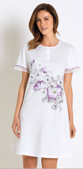 Linclalor Short Sleeve Nighty Floral Print