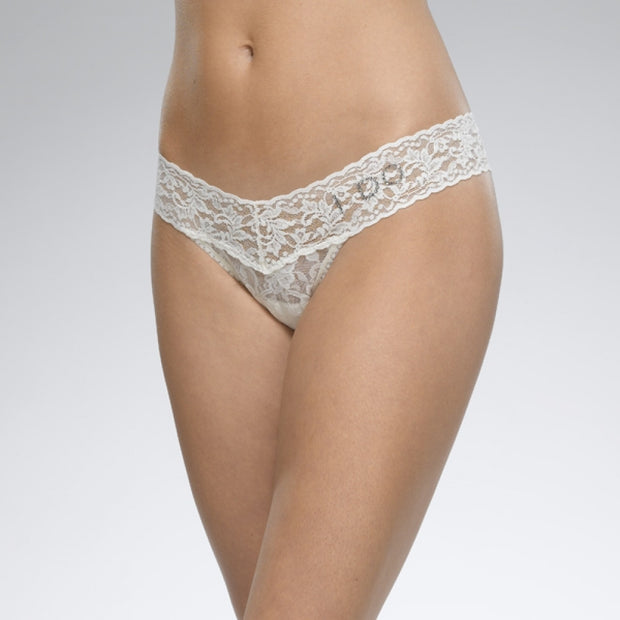 "Hanky Panky ""I Do"" Lace Low Rise Thong with Swarovski Crystals 6510"
