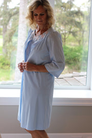 Shadowline women's short robe in blue