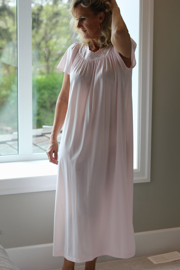 Shadowline Short Sleeve Long Nightgown