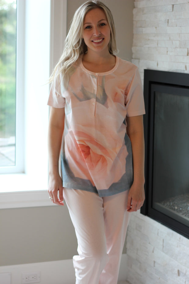 Linclalor Peach Floral PJ Set