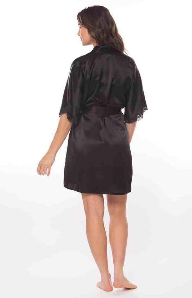 Boudoir Short Robe back view in black