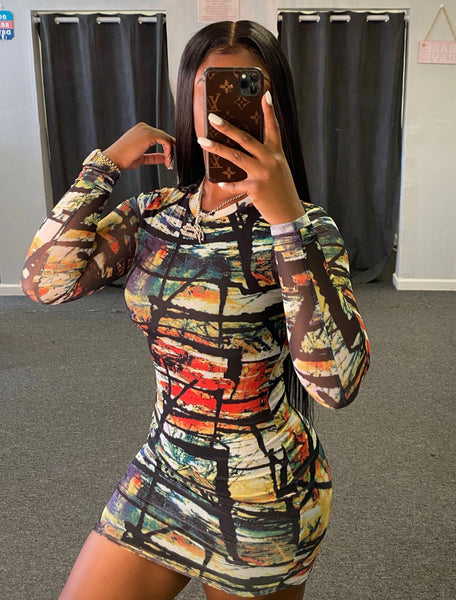 Skinny Print Nightclub Long Sleeve Dress