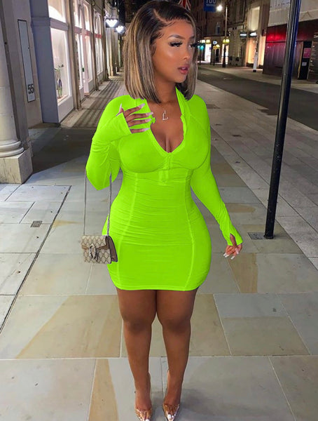 Solid Long Sleeve Bodycon Dress