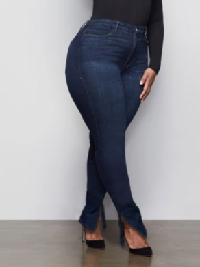 Split Fitted High Rise Jeans
