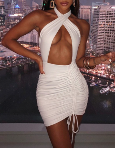 Backless Waist Cut Halter Mini Dress