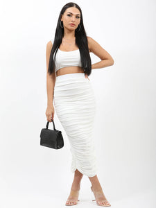 Slinky Bralet & Ruched Skirt Co-ord