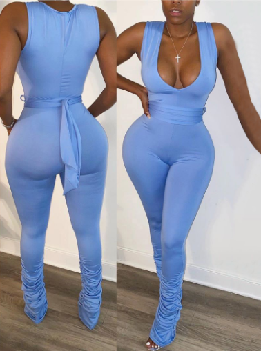 V Neck Fitted Jumpsuit