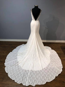 Mikaella Bridal V-neck tank All Lace Couture Bridal Gown