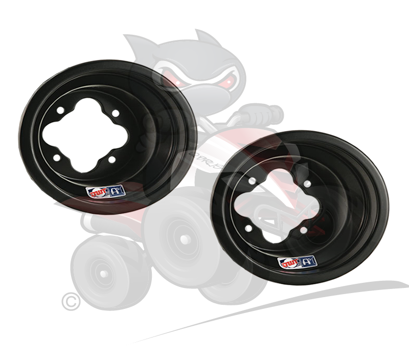 "Pair of Douglas Racing A5 Matt Black 10"" Front Wheels 4/156"
