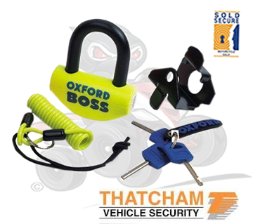 Thatcham Approved Oxford Boss Disc Lock with Mounting Bracket & Warning Cable