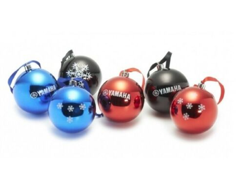 Genuine Yamaha 2020 Set of 6 Red,Blue & Black Christmas Tree Baubles
