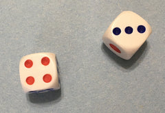 Two dice showing four and three