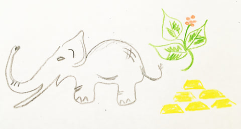 Elephant, plant, gold bars sketch for twenty questions game