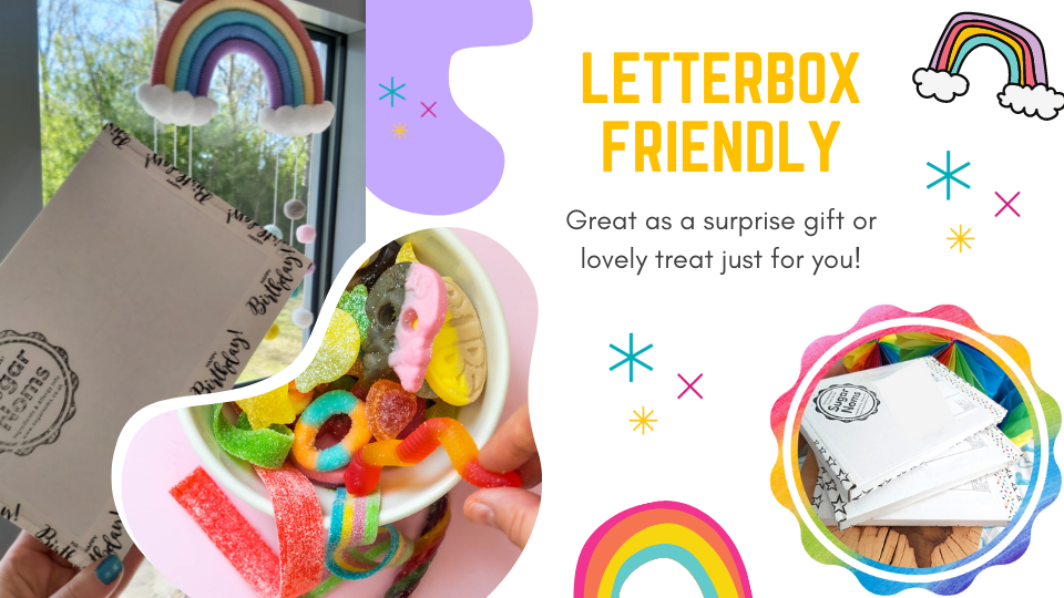 letterbox treats, treats to your door, letterbox friendly sweets, contactless delivery, postal sweets, mail order candy, mail order vegan, vegan shop, vegan gifts, gifts for vegans, gifts for vegetarians, dairy free gift, vegan gift, vegan food, vegan sweets