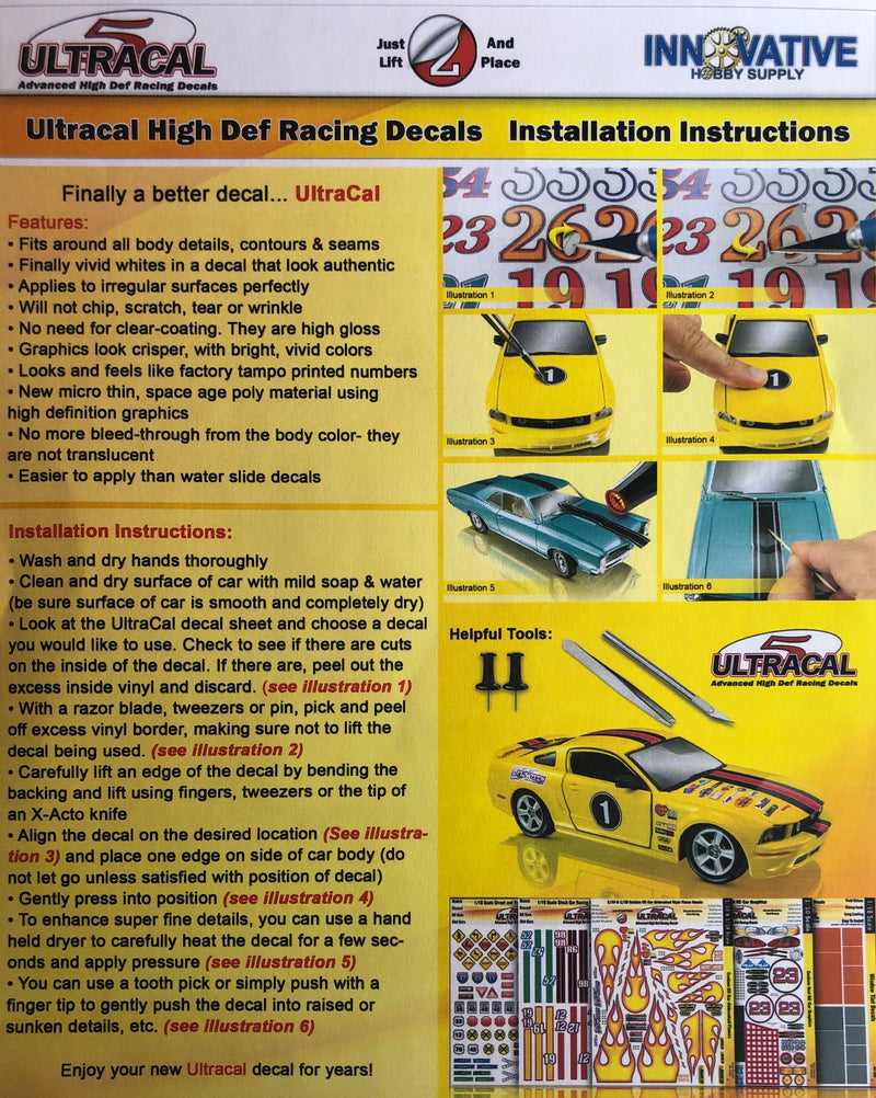 IHS-3455 UltraCal Peel & Stick Decals: Trunk Mats