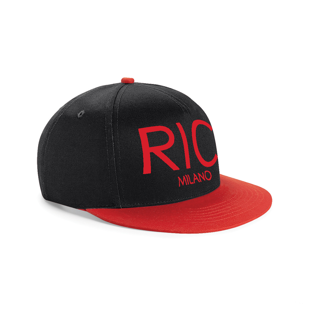 RIC MILANO EMBROIDERED Snapback Cap Black With Red Visor