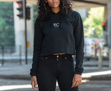 Load image into Gallery viewer, RIC MILANO EMBROIDERED Cropped Hoodie Black