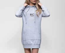 Load image into Gallery viewer, RIC MILANO EMBROIDERED Hoodie Dress Grey