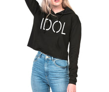 Load image into Gallery viewer, IDOL PRINTED Cropped Hoodie Black