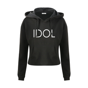 IDOL PRINTED Cropped Hoodie Black