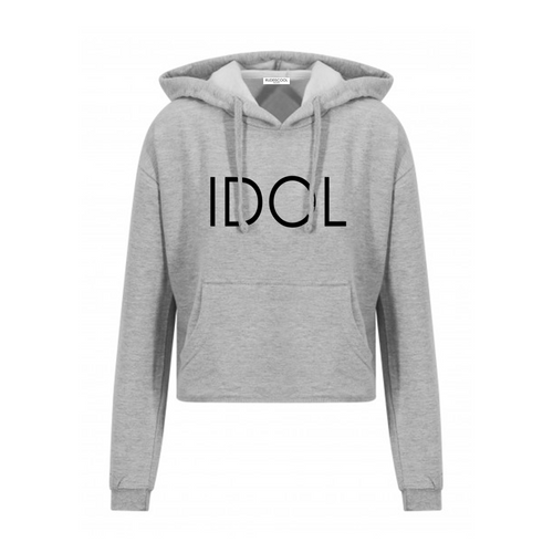 IDOL PRINTED Cropped Hoodie Grey
