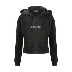 RUDEISCOOL EMBROIDERED Cropped Hoodie Black