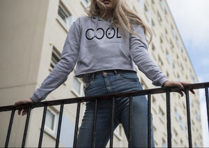 COOL PRINTED Cropped Hoodie Grey