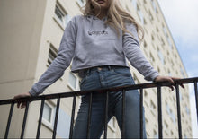 Load image into Gallery viewer, RUDEISCOOL EMBROIDERED Cropped Hoodie Grey