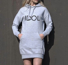 Load image into Gallery viewer, IDOL PRINTED Hoodie Dress Grey