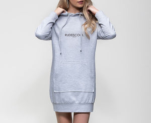 RUDEISCOOL EMBROIDERED Hoodie Dress Grey