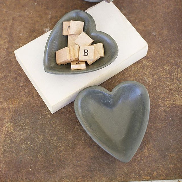 carved stone heart bowl \ dark grey