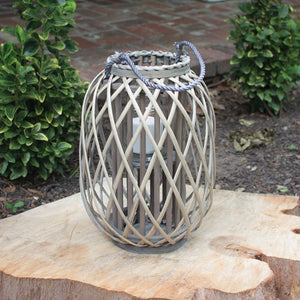 grey willow lantern with glass \ small